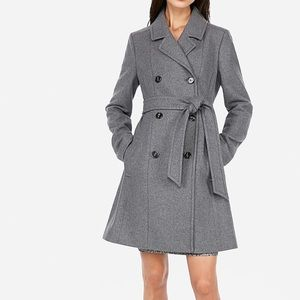 Express Gray Wool Trench Coat